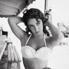 Elizabeth Taylor on set of Giant, 1955