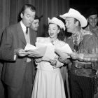 James Stewart, Dale Evans and Roy Rogers join in song