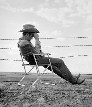 James Dean Seated Behind Fence on Set of 'Giant' 1956 by