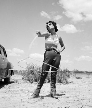 Elizabeth Taylor With Lasso Giant 1955 by