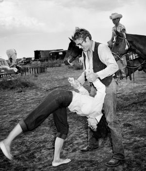 Elizabeth Taylor Flipping with James Dean 1955 by