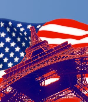 US Flag, Eiffel Tower by