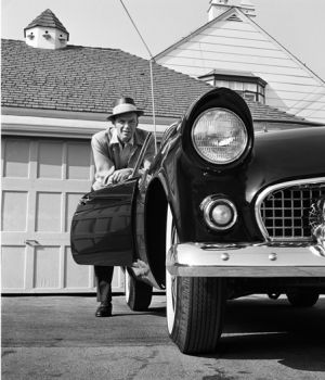 Frank Sinatra Leaning on T-bird 1955 by