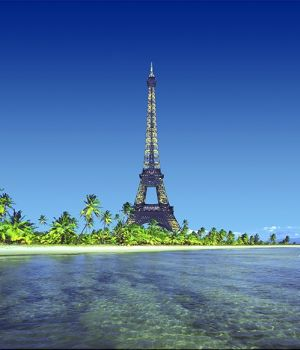 Eiffel Tower on Island by