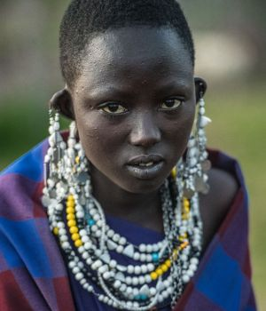 Maasai Girl in formal adornments, Tanzania by